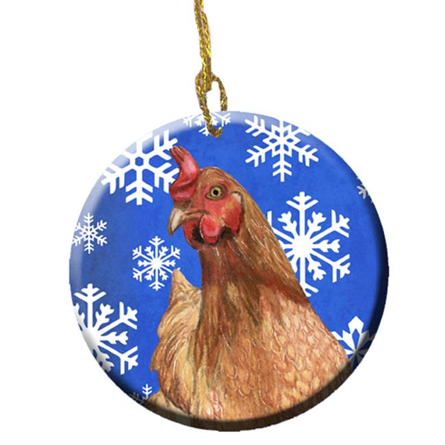 Chicken Winter Snowflakes Holiday Ceramic Ornament