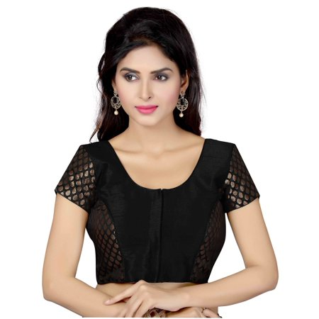 (TrendyFashionMall Ready Made Short Sleeve Silk Blouse Black-Med(40))