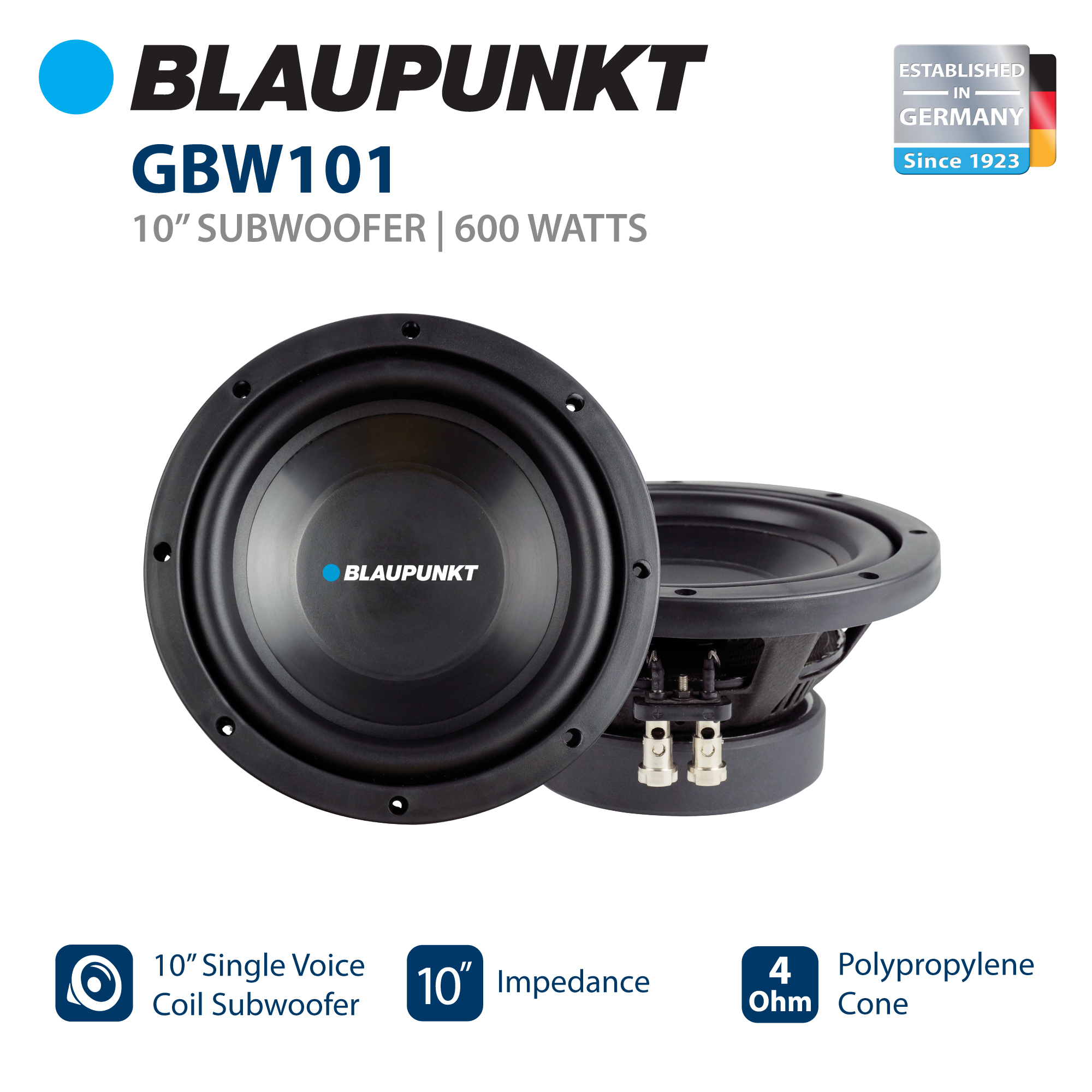 "Blaupunkt 10"" Single Voice Coil Subwoofer with 600W Power (GBW101)"