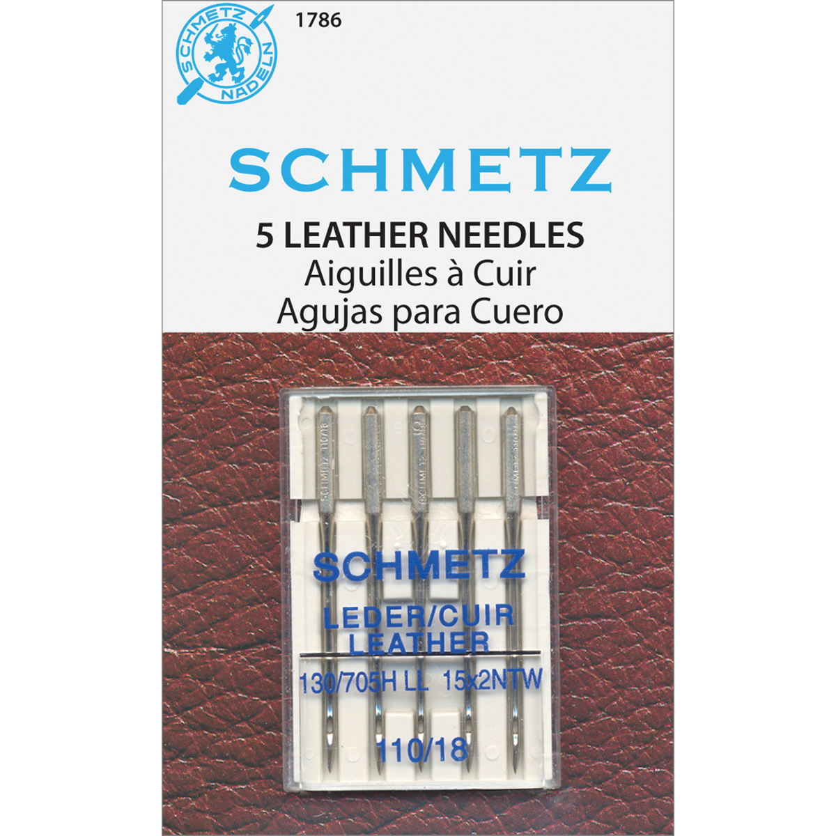 Euro-Notions Leather Machine Needles, Size 110/18, 5/pkg