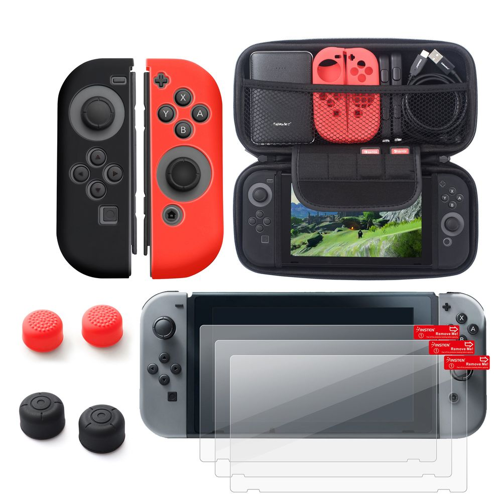 Nintendo Switch Case with Screen Protector 6in1 Bundle, by Insten Carry Travel Hard Case + Joy-Con Controller Skin [Left BLACK/Right RED] + 3-pack LCD Guard + 2-pair Thumbstick Cap for Nintendo Switch - image 6 of 6