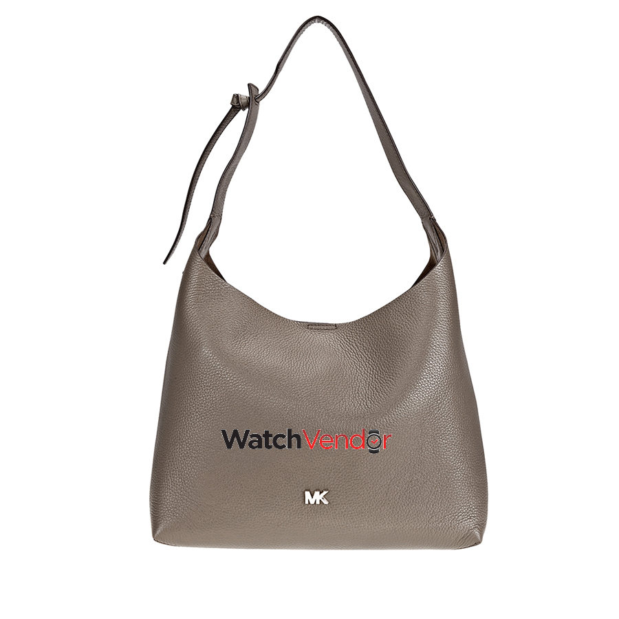 6d8126a937 Michael Kors Junie Medium Pebbled Leather Shoulder Bag- Mushroom