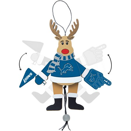 Topperscot by Boelter Brands NFL Wooden Cheering Reindeer Ornament, Detroit Lions
