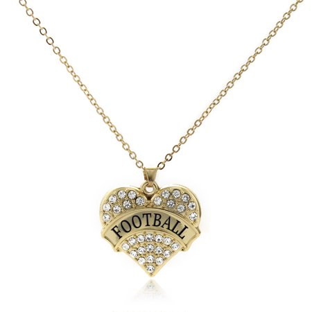 Football Gold Pave Heart Charm Necklace](Football Charms)