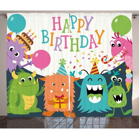 Birthday Decorations for Kids Curtains 2 Panels Set, Little Baby Monsters Party Cones Confetti Balloons Image, Window Drapes for Living Room Bedroom, 108W X 90L Inches, Multicolor, by Ambesonne - Confetti Cones