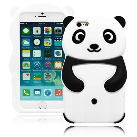 White Back Case - iPhone 6 Phone Case, Bastex Heavy Duty Protective 3D Soft Black and White Silicone Happy Panda Design Case Cover for Apple iPhone 6, 4.7