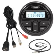 "Milenna PRV17 Marine Boat Yacht Gauge Style AM/FM Radio Stereo Receiver Media Player Bundle Combo With Enrock USB/AUX To RCA Interface Mount Cable + 22"" Radio Antenna"
