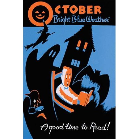 A good time to read  Poster for the WPA Statewide Library Project showing a boy reading a book surrounded by a bat ghost witch and other images of Halloween Poster Print by Albert M Bender