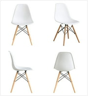 BTEXPERT Midcentury Natural Wood Metal Legs Dining Room Side Chair - White DSW Set of 4 Retro Style