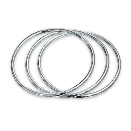 Basic Set of 3 Stackable 3mm Bangles Bracelet For Women Shinny High polished 925 Sterling Silver