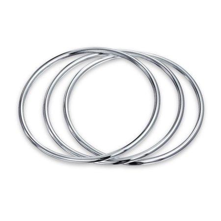 Set Of Three 3mm Sterling Silver Stackable Bangle Bracelets