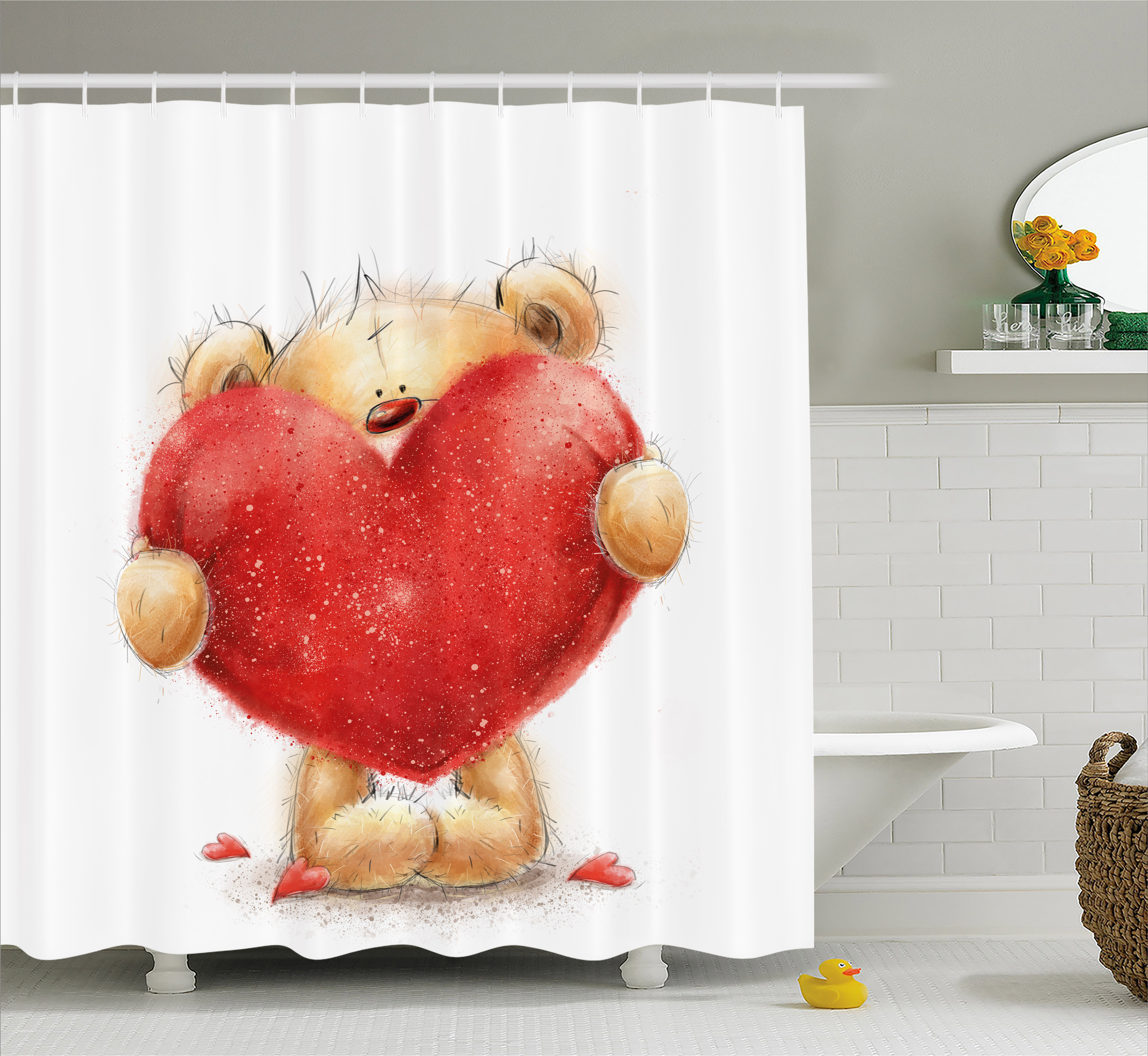 Bear Shower Curtain, Valentine's Day Inspired Sweet Teddy Bear Holding a Big Red Heart Love Romance, Fabric Bathroom Set with Hooks, 69W X 75L Inches Long, Sand Brown Red, by Ambesonne