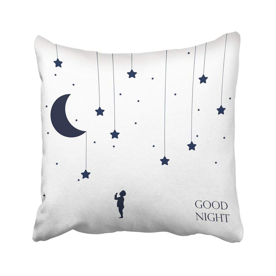 BPBOP Yellow Star Moon And Dreaming Baby Concept Idea Good Night Place For Your Text 8 Blue Kid Pillowcase Throw Pillow Cover Case 18x18 inches