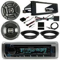 "Harley Motorcycle Stereo Kit - Kenwood CD Bluetooth USB Radio, 2x Polk Audio 6.5"" Marine 300 Watt Speakers, Dash Radio Install Kit, Speaker Adapters, Thumb Control Interface, Antenna - 98-13 Touring"