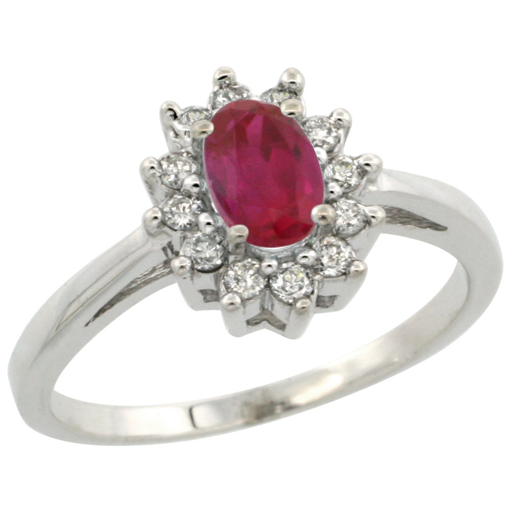 10K White Gold Diamond Halo Enhanced Ruby Engagement Ring Oval 6X4mm, sizes 5 10