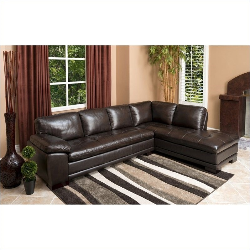 Beau Abbyson Living Tekana 2 Piece Leather Sectional In Dark Brown