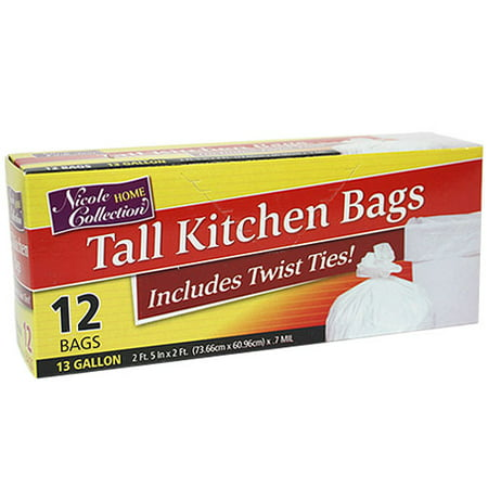 (Pack of 4) Nicole Home Collection Tall Kitchen Trash Bags with Twist Ties, White, 13 Gallon, 12 Ct 13 Gallon Case Pack