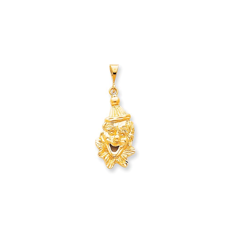 10k Yellow Gold Solid Satin Clowns Head Charm Pendant
