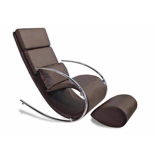 Whiteline RC1028P-BRN Chloe Rocker Chair and Ottoman Chocolate Leatherette Chrome Frame