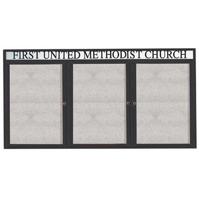 Aarco Products ODCC4896-3RHBA 3-Door Outdoor Enclosed Bulletin Board with Header - Bronze Anodized