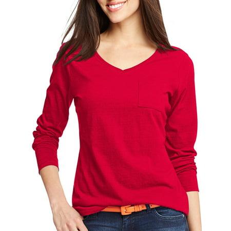 Hanes - Women s V-Neck Long-Sleeve Pocket T-Shirt - Walmart.com bcbc8fa6f