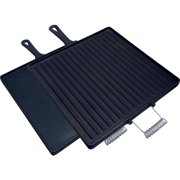 """King Kooker Pre-Seasoned Cast Iron Square Double Sided Griddle with Handles, 14"""" x 14"""""""