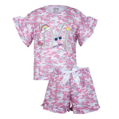 Sleep On It Camo printed tee/short pajama set (2-piece set) (big girls)