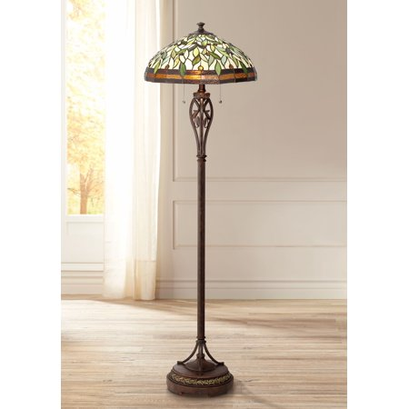 Robert Louis Tiffany Traditional Floor Lamp Bronze Tiffany Style Leaf Pattern Stained Glass Shade for Living Room Reading Bedroom