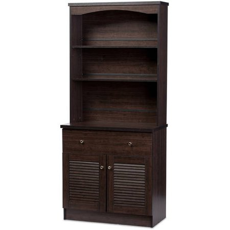 - Baxton Studio Agni Modern and Contemporary Dark Brown Buffet and Hutch Kitchen Cabinet