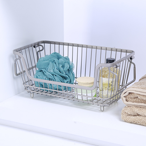 Chapter Small Stackable Wire Basket, Nickel
