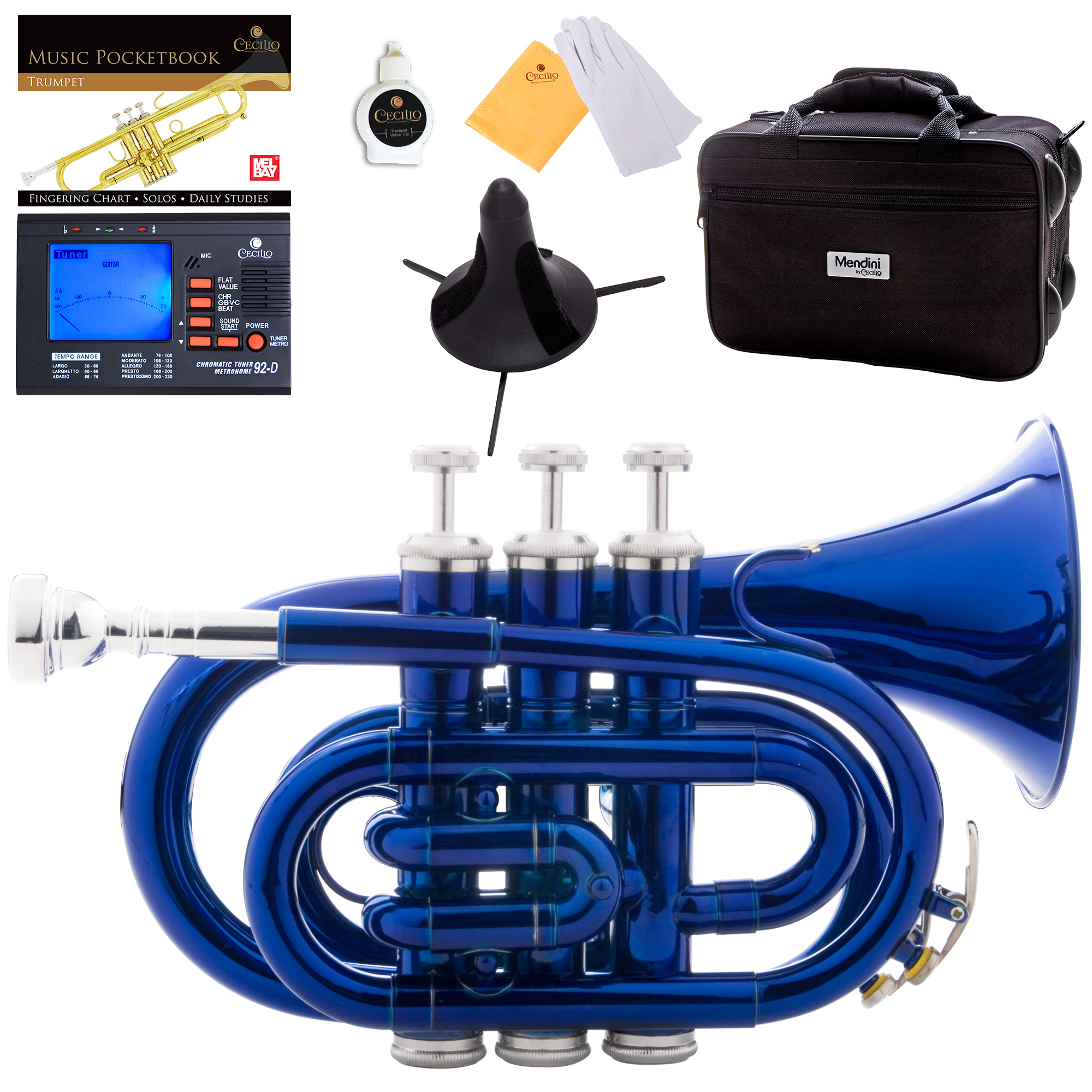 Mendini by Cecilio Blue Bb Pocket Trumpet w/1 Year Warranty, Tuner, Stand, Pocketbook and Deluxe Case, MPT-BL