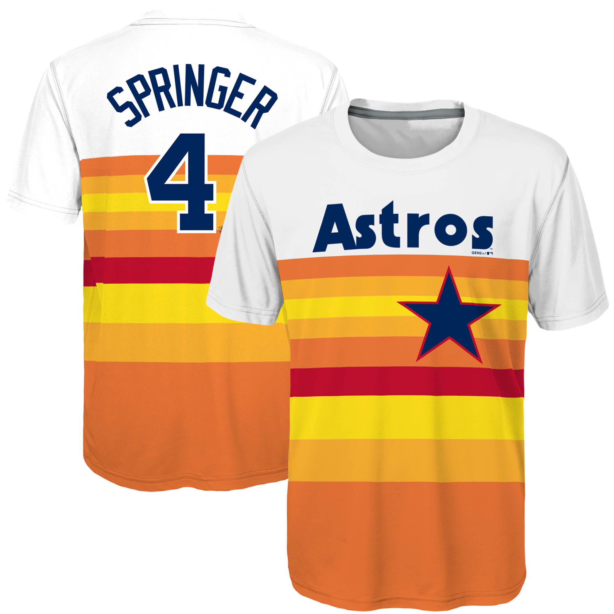 official photos 7c425 d9310 George Springer Houston Astros Majestic Youth Sublimated Cooperstown  Collection Jersey T-Shirt - Orange
