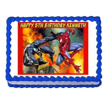 SPIDERMAN AND VENOM party decoration edible cake image cake - Venom Party Supplies