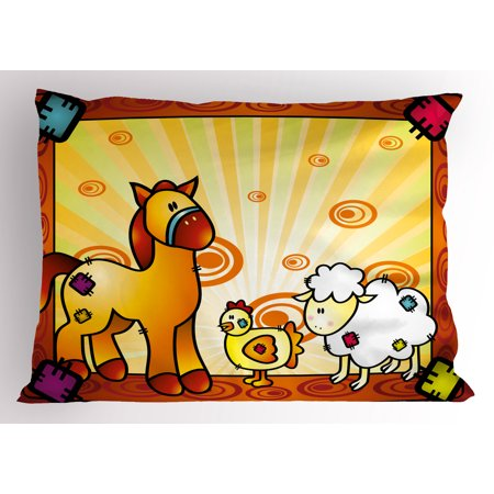 Friends Sham (Kids Pillow Sham Animal Friend Chicken Sheep and Horse with Patch Motif Zoo Joyful Cartoon Print, Decorative Standard Queen Size Printed Pillowcase, 30 X 20 Inches, Red Orange Yellow, by Ambesonne )