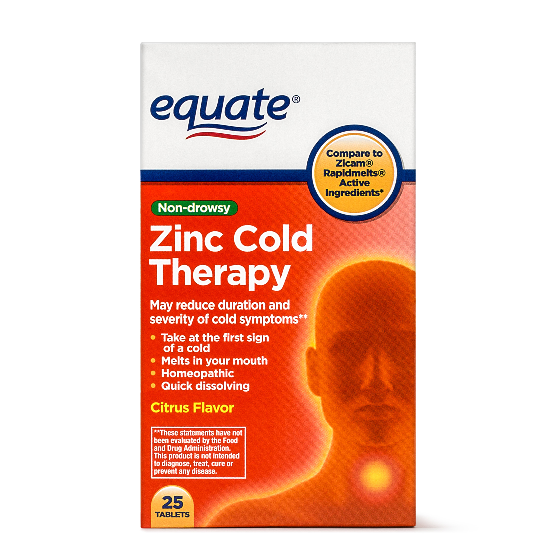 Equate Zinc Cold Therapy Citrus Flavor Tablets 25 Ct Walmart Com