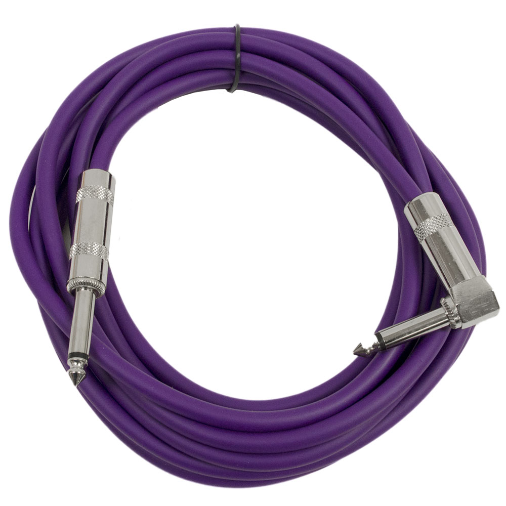 "Seismic Audio  - 10' Purple Guitar Cable TS 1/4"" to Right Angle - Instrument Cord - SAGC10R-Purple"