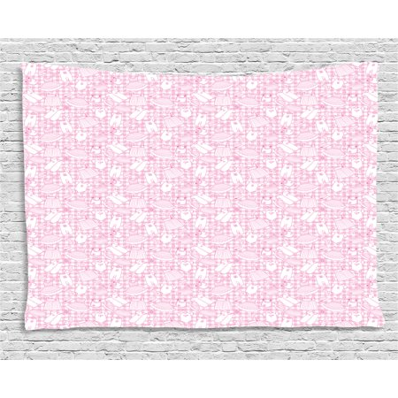 Baby Tapestry, Newborn Girl Clothes with Checkered Background Hearts Stars Flowers Dresses and Hats, Wall Hanging for Bedroom Living Room Dorm Decor, 60W X 40L Inches, Pink White, by Ambesonne - Flowers For Dresses