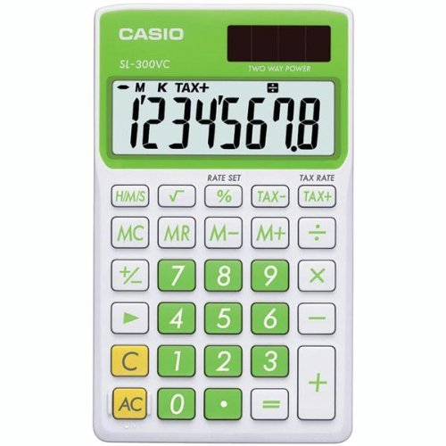 Casio Sl300vcgnsih Solar Wallet Calculator With 8-digit Display - Green - 8 Character[s] - Solar Powered - Green (sl300vcgnsih)
