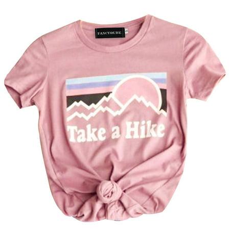 Fancyleo Take A Hike Letter Print T-Shirt Women Short Sleeve Hiker Casual Tee Tops