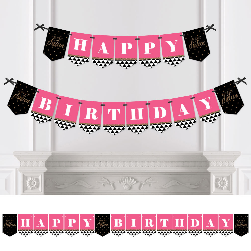 Chic 16th Birthday - Pink, Black and Gold - Birthday Party Bunting Banner - 16th Party Decorations - Happy Birthday