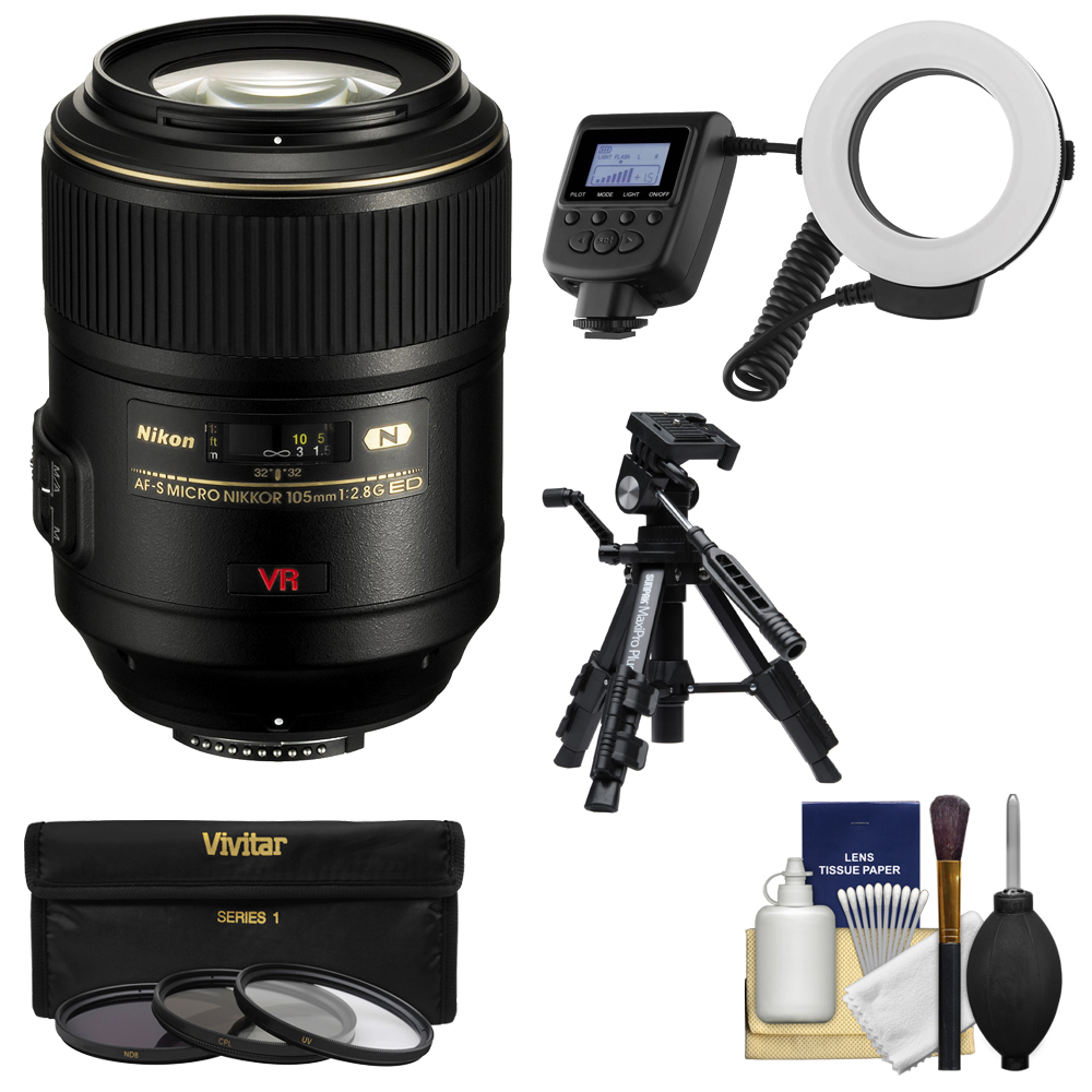 Nikon 105mm f/2.8 G VR AF-S Micro-Nikkor Lens with Ringlight + Tripod + 3 Filters + Kit for D3200, D3300, D5300, D5500, D7100, D7200, D610, D750, D810, D4s Camera