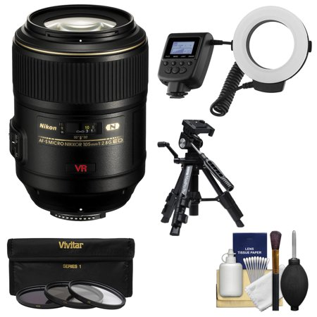 nikon 105mm f 2 8 g vr af s micro nikkor lens with ringlight tripod 3 filters kit for d3300. Black Bedroom Furniture Sets. Home Design Ideas