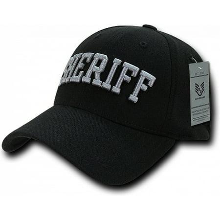 RapDom Sheriff Text FitAll Flex Mens Baseball Cap [Black - L/XL] Sheriff Hat Cap