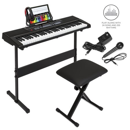 Best Choice Products 61-Key Beginner Electronic Keyboard Piano Musical Instrument Set w/ 3 Teaching Modes, H-Stand, Stool, Music Stand, Headphones, Power Supply - Black