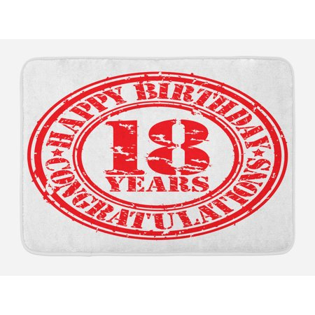 18th Birthday Bath Mat, Vintage Happy Birthday and Sweet Eighteen Stamp Icon Retro Image Print, Non-Slip Plush Mat Bathroom Kitchen Laundry Room Decor, 29.5 X 17.5 Inches, Red and White, Ambesonne