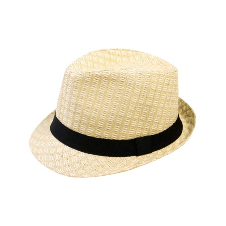 Fedora Hat Fashion Trilby Summer Beach Sun Straw Cap, 738_Beige L/XL