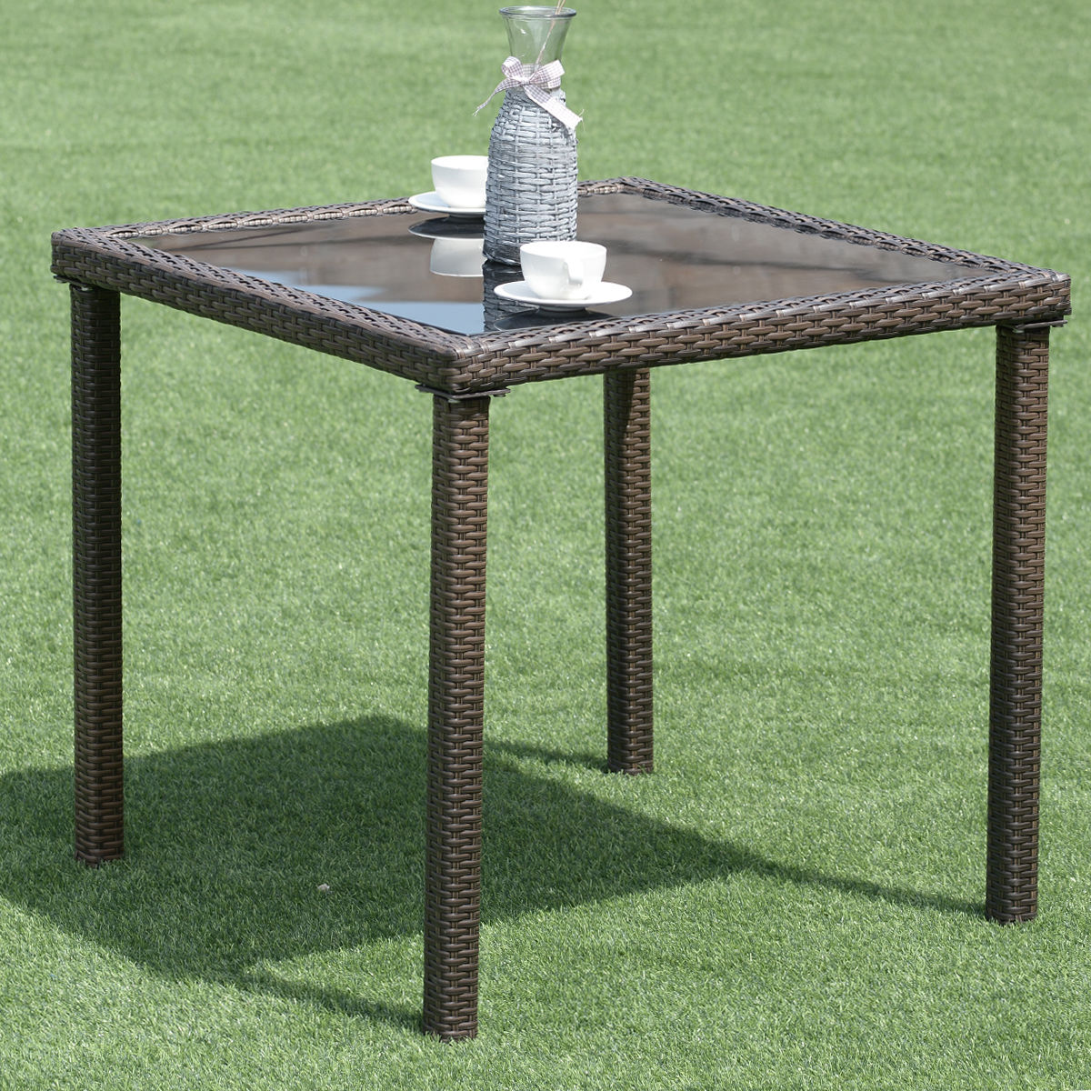 Costway 31.5 '' Garden Table Patio Outdoor Wicker Square Dining Table W/Glass Top