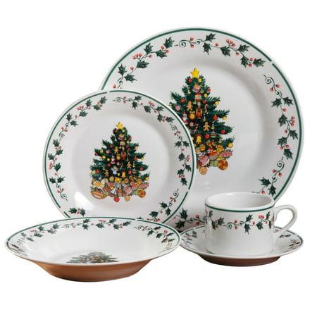 Nautical Themed Dinnerware Sets (Tree Trimmings 20 pc Dinnerware ceramic Set dishes christmas theme By)