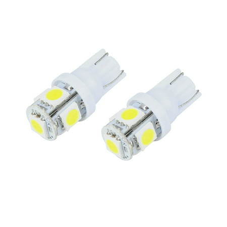 2Pcs  5 SMD 168 194 2825 HID White Bulbs For License Plate Lights (194 Light Bulbs)