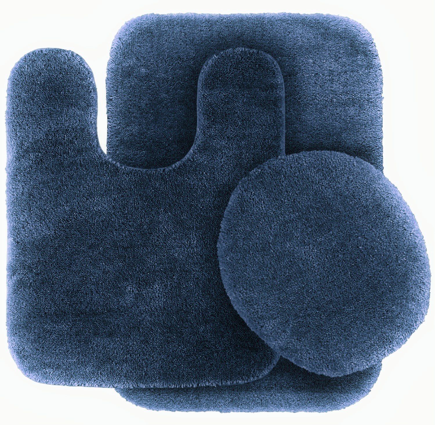 3 Pc NAVY BLUE Bathroom Set Bath Mat RUG, Contour, and Toilet Lid Cover, with Rubber Backing #6